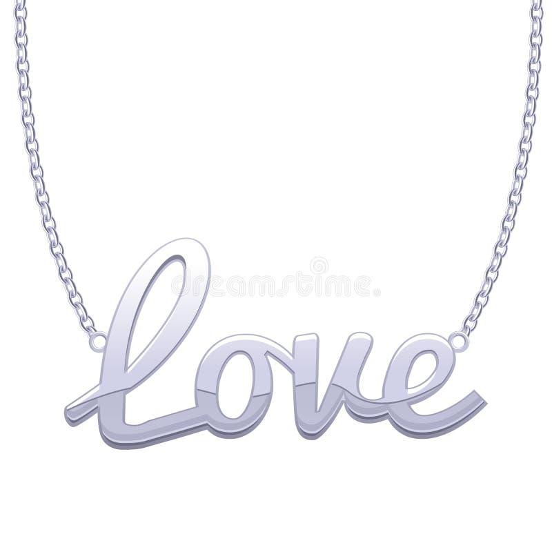 Silver love word pendant on chain stock vector illustration of download silver love word pendant on chain stock vector illustration of golden symbol aloadofball Choice Image
