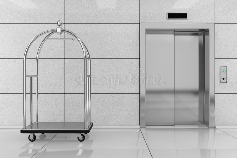 Silver Luxury Hotel Luggage Trolley Cart in front of Modern Elev. Ator or Lift with Metal Doors in Hotel Building extreme closeup. 3d Rendering stock photos