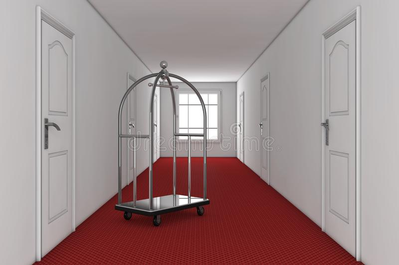 Silver Luxury Hotel Luggage Trolley Cart in Hotel Building Hallway. 3d Rendering. Silver Luxury Hotel Luggage Trolley Cart in Hotel Building Hallway extreme stock photos