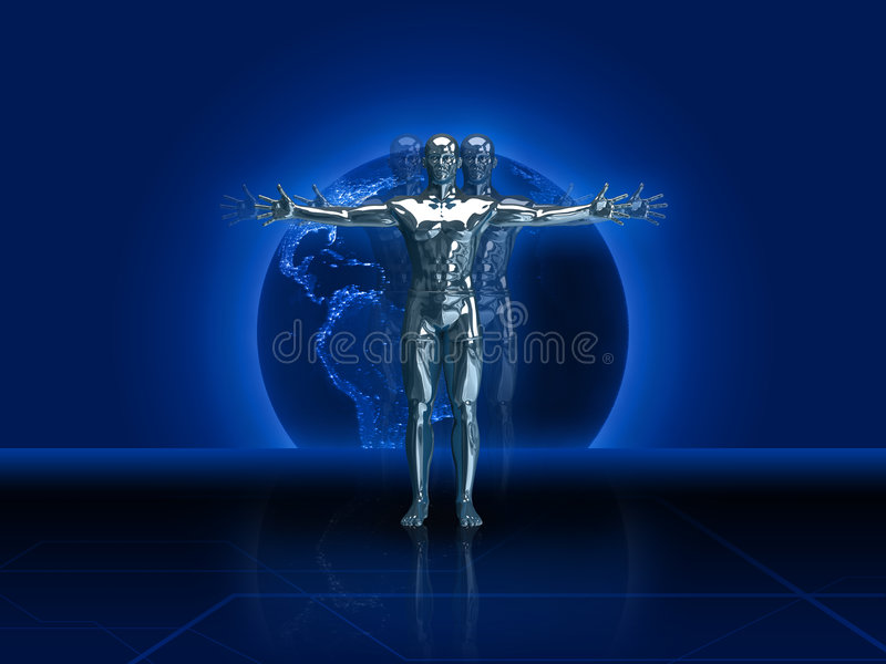 Silver Man 3D Render stock illustration