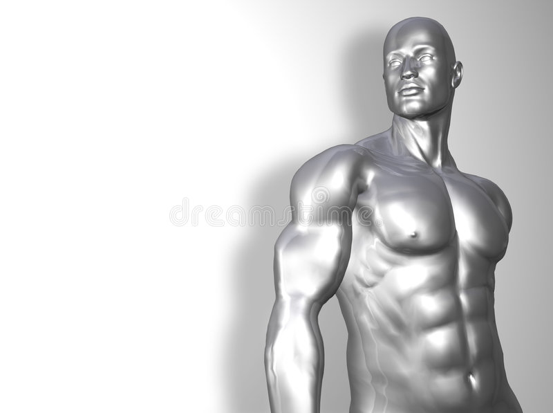 Silver man torso vector illustration
