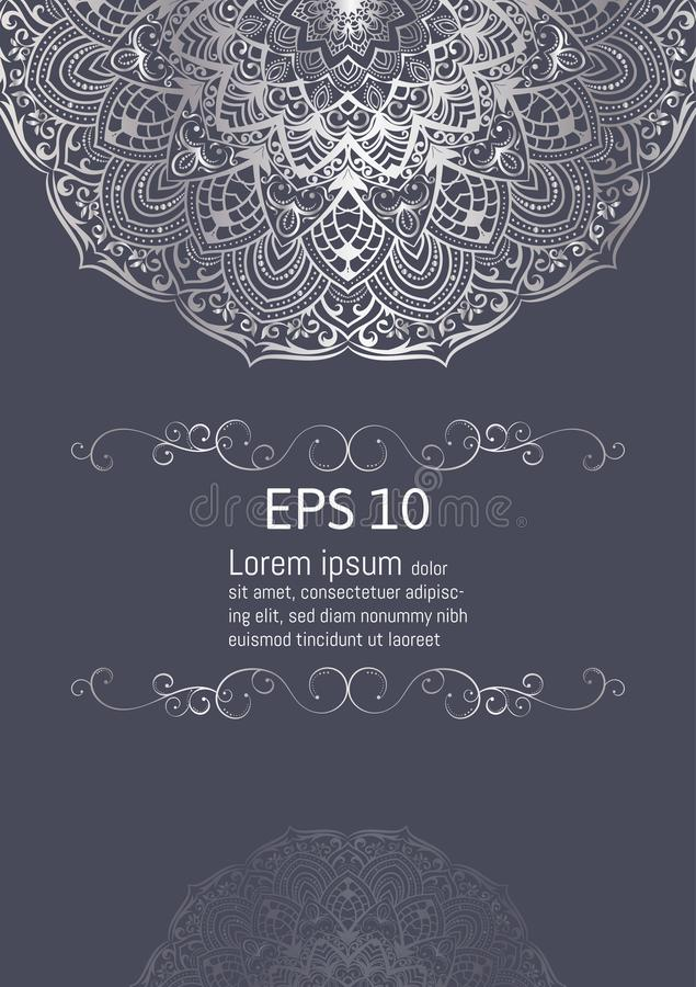 Silver Mandala Vintage decorative elements, vector illustration with copy space stock illustration