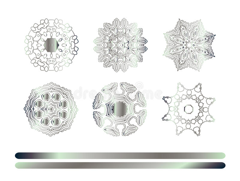 Silver mandala on white background. Hand drawn abstract background. Vintage pattern. Silver circle texture vector illustration