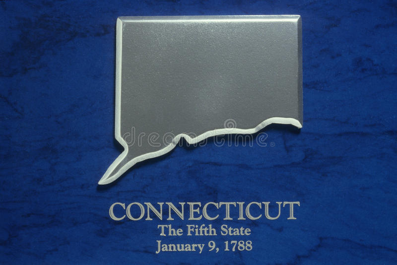 Silver Map of Connecticut. US royalty free stock images