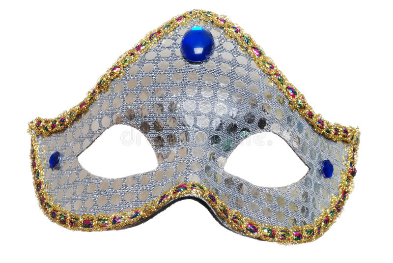 Silver Mardi Gras Mask. Isolated Silver Mardi Gras Mask on white background royalty free stock photography