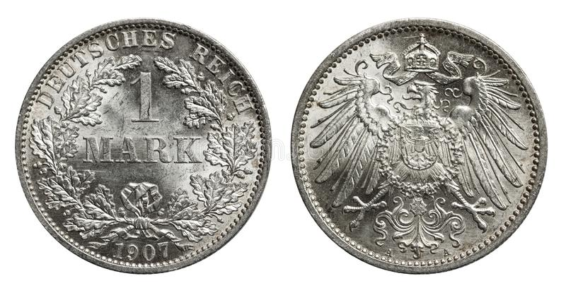Silver mark coin Germany 1907. Conservation in mint, front oak leaves, back eagle stock image