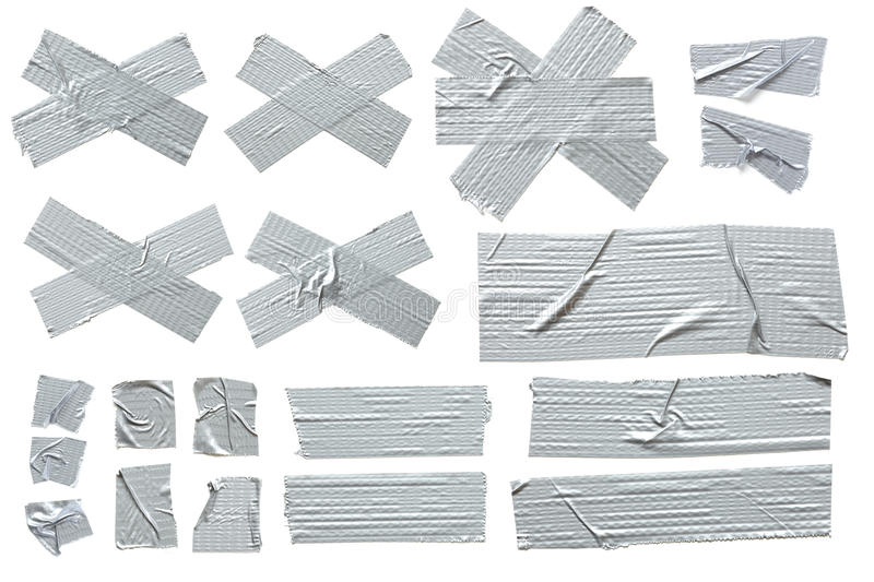 Silver Masking Tape. Collection of different stripes of masking tape. All isolated on plain white background stock photos