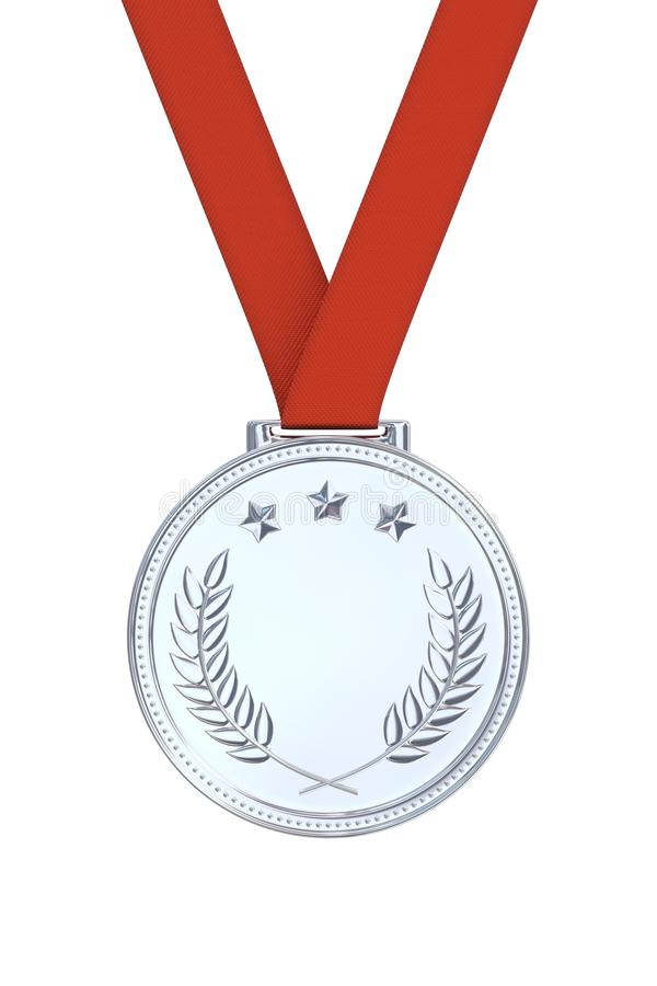 Silver medal with laurels. Stars on a red ribbon. Round blank coin with ornaments. Victory, best product, service or employee concept. Achievement in sports stock photo