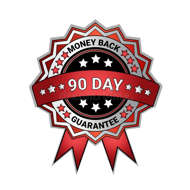 Silver Medal Money Back In 90 Days Guarantee Isolated Template Seal Icon royalty free illustration