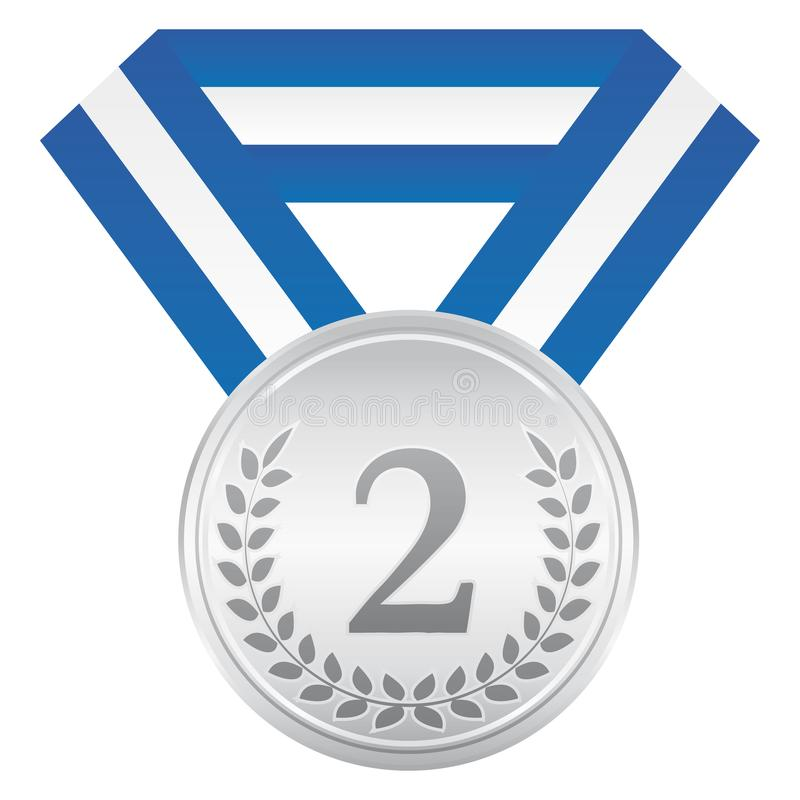 Silver medal. 2nd place. Award ceremony icon. royalty free illustration