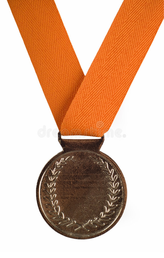 Silver medal on orange ribbon. Silver medal with orange ribbon isolated on a white background royalty free stock photos