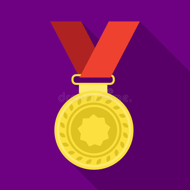 Silver medal on a red ribbon.The award for second place in the competition .Awards and trophies single icon in flat vector illustration