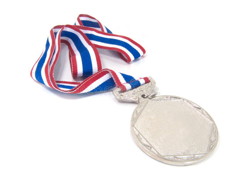 Silver Medal. With tricolor red blue and white.On white background stock photo