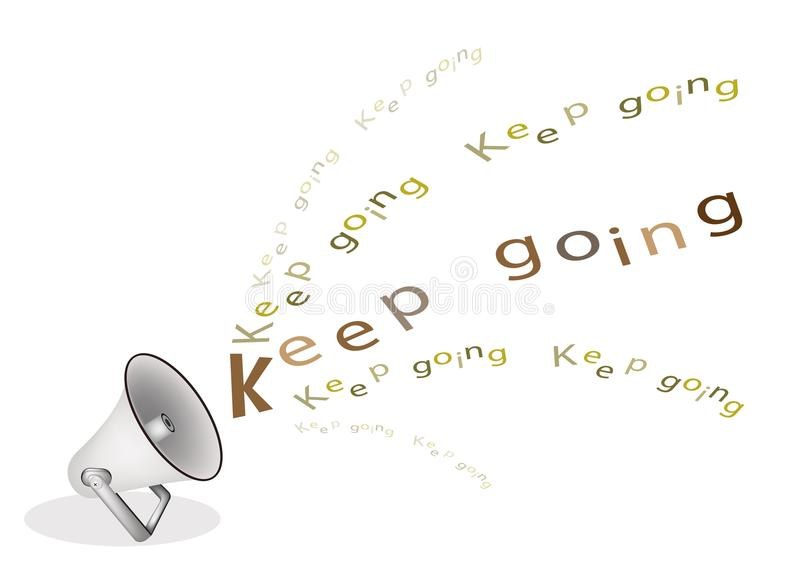 A Silver Megaphone Shouting Word Keep Going vector illustration