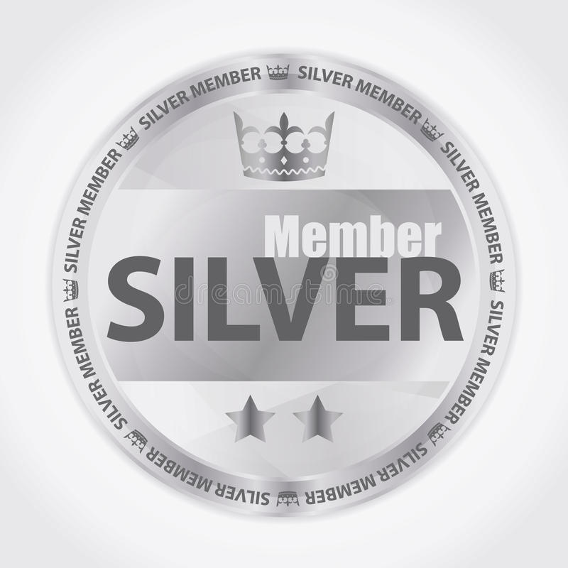 Silver member badge with royal crown and two stars vector illustration