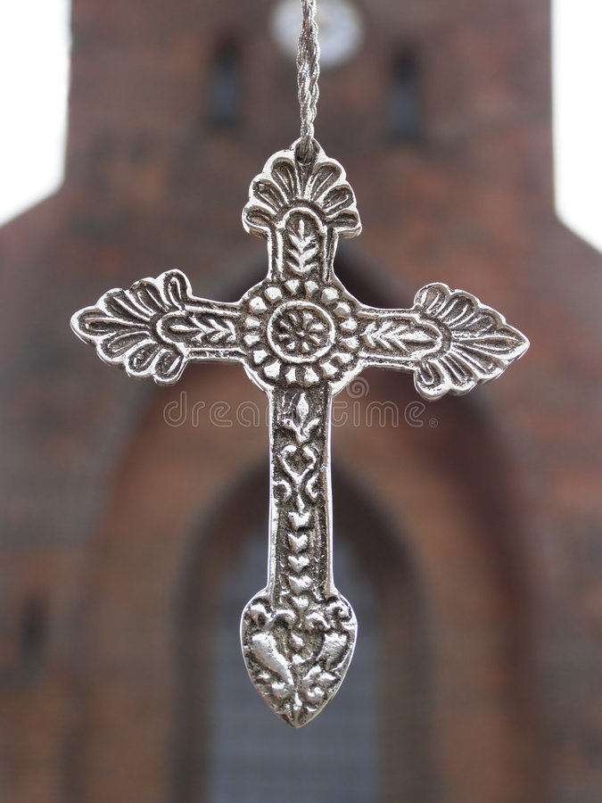 Silver metal cross stock photography