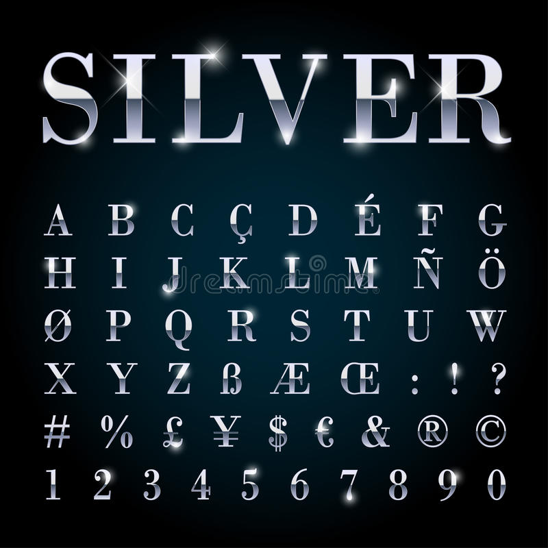 Silver Metal Font Set Letters Numbers Currency Symbols Stock