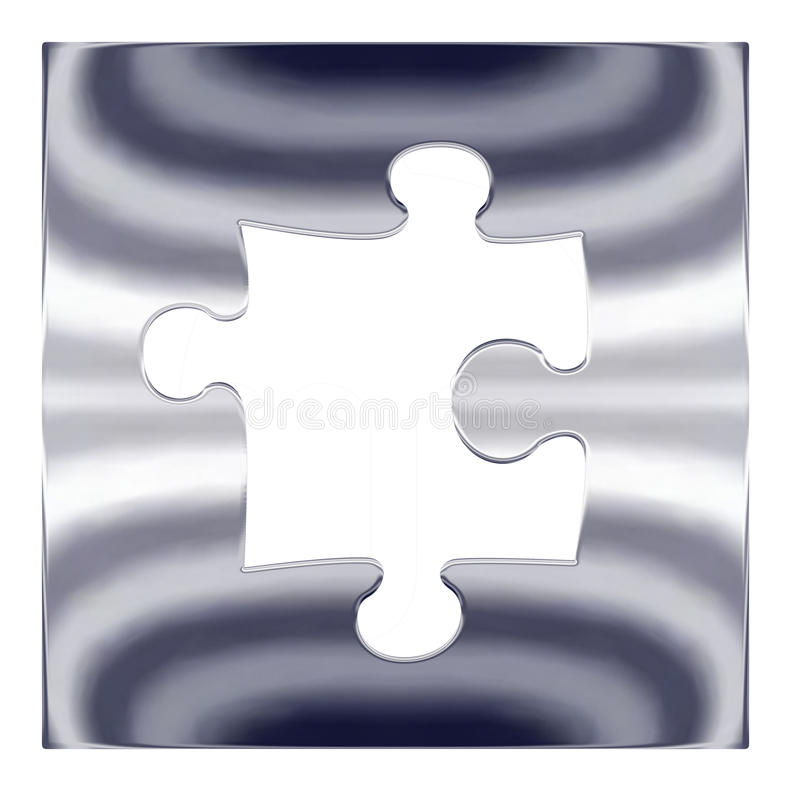 Silver metal jigsaw puzzle vector illustration