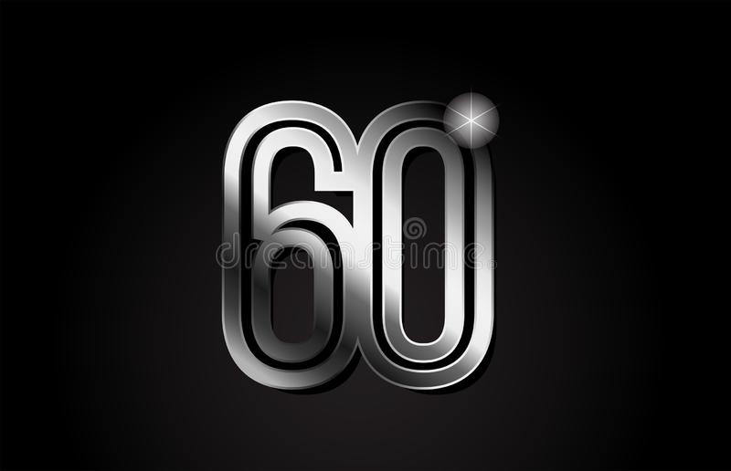 Silver metal number 60 logo icon design. Silver metal number 60 logo design suitable for a company or business royalty free illustration