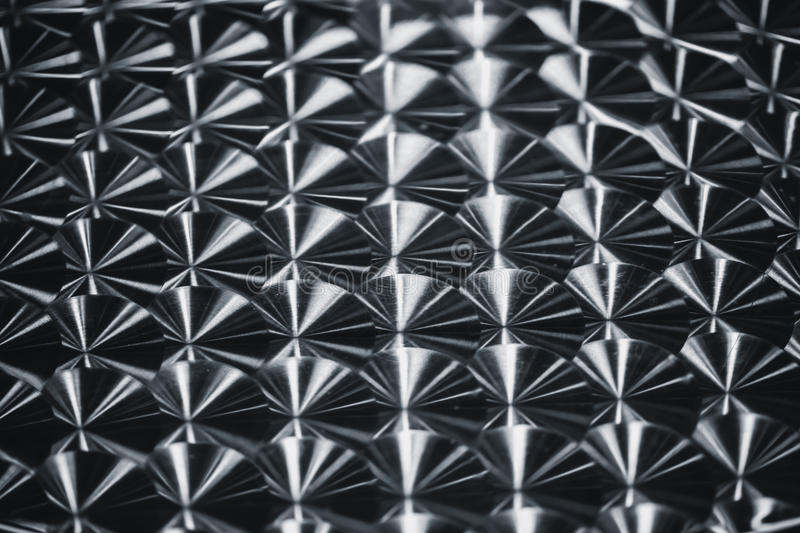 Silver metal reflective circle spin brush pattern texture. stock photo