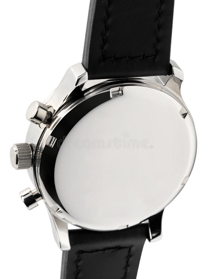 Silver metal wristwatch with black strap royalty free stock images