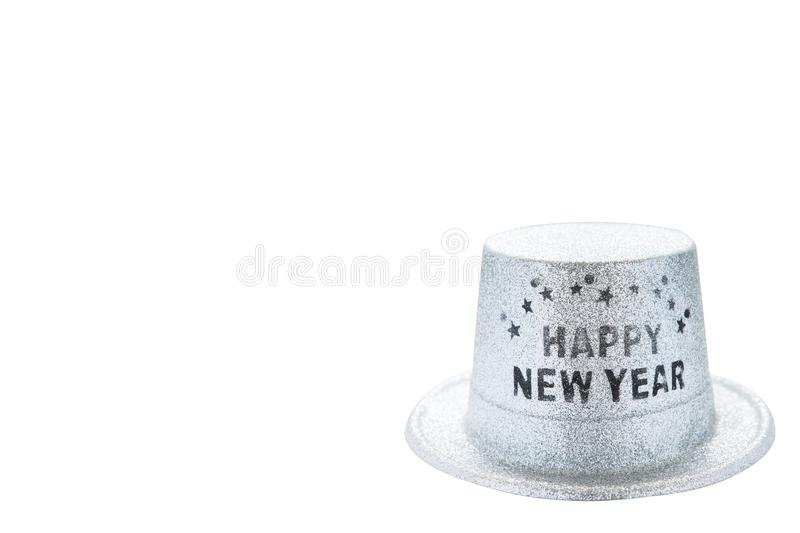 Silver metallic happy new year party hat isolated on white background, clipping path. copy space of your text stock images