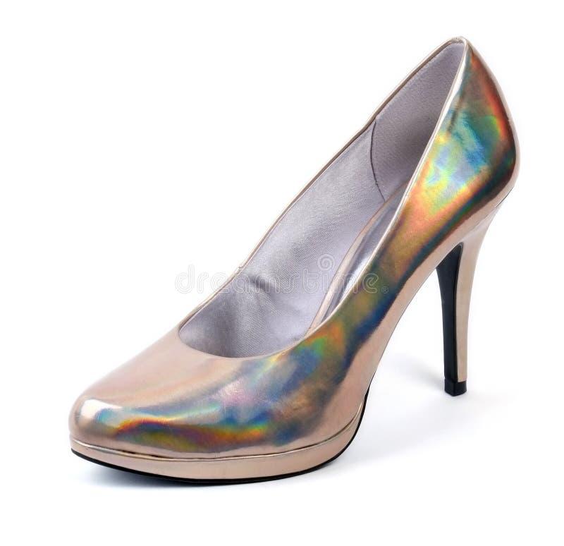 Silver Metallic Iridescent Stiletto Shoe. Silver metallic multicolored iridescent stiletto shoe on a white background stock images