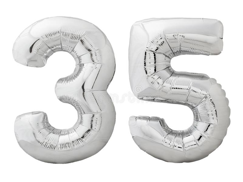 Silver number 35 thirty five made of inflatable balloon isolated on white royalty free stock images