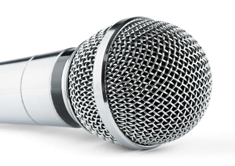 Silver microphone. On a white background stock photo