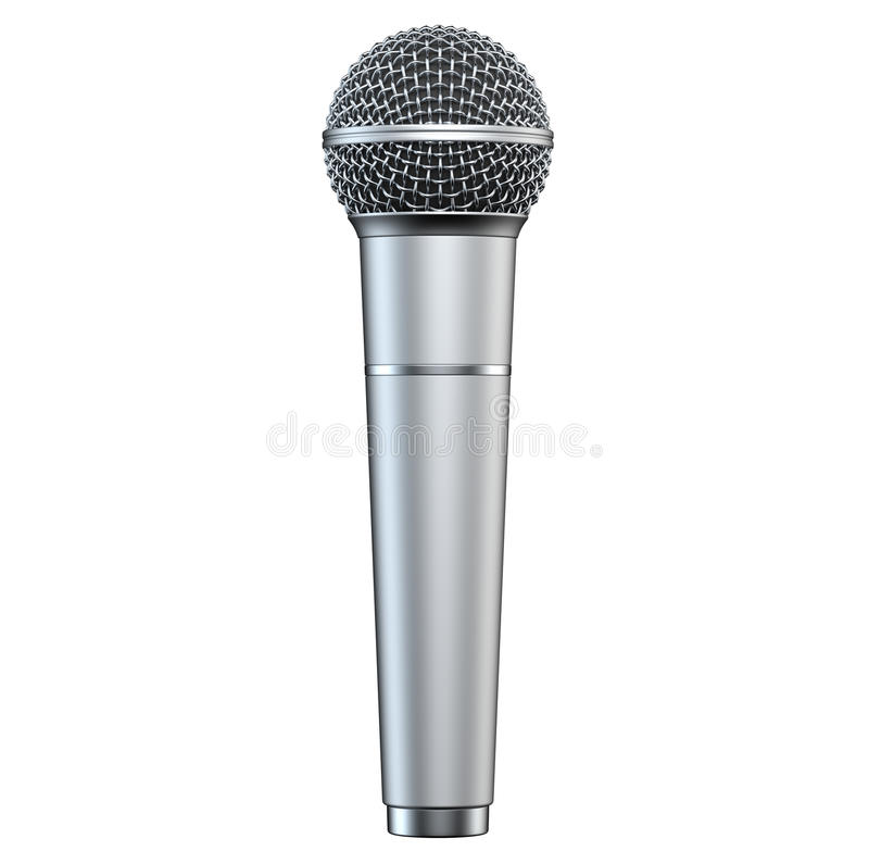 Silver microphone, isolated on white background, 3D render, vertical view. Silver microphone, isolated on white background, 3D render, vertical view stock illustration