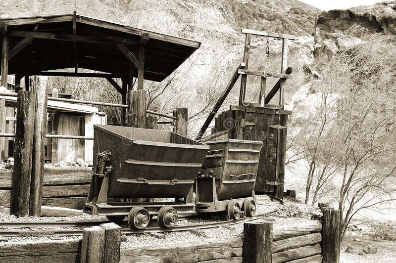 Silver Mine. And ore cars circa 1890's in the Silver boomtown of Calico California stock photos
