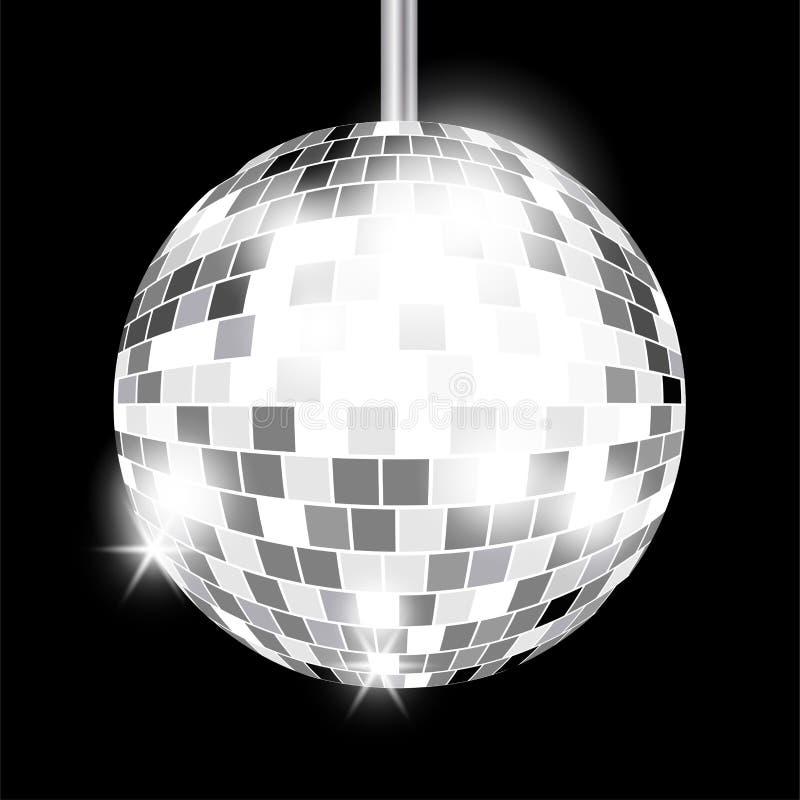 Silver mirror disco ball isolated vector illustration