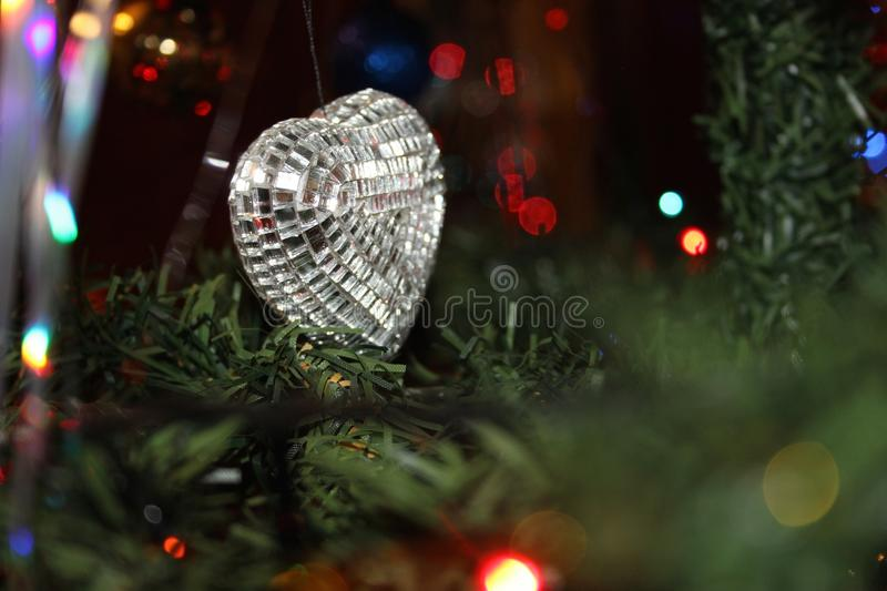 New year toy on the tree royalty free stock photos