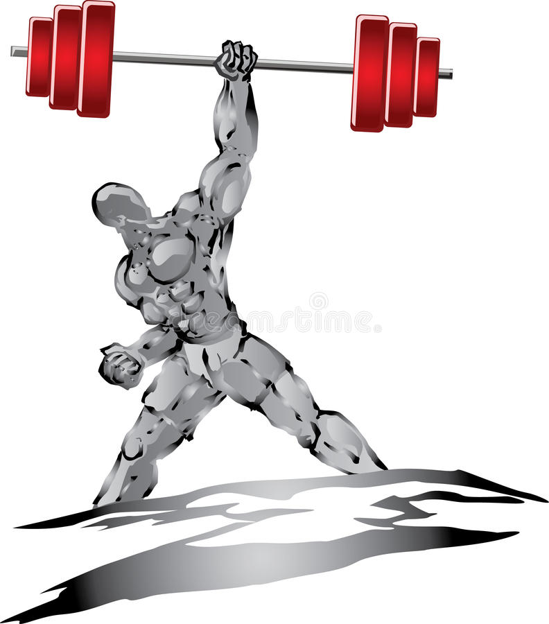 Silver muscleman royalty free illustration