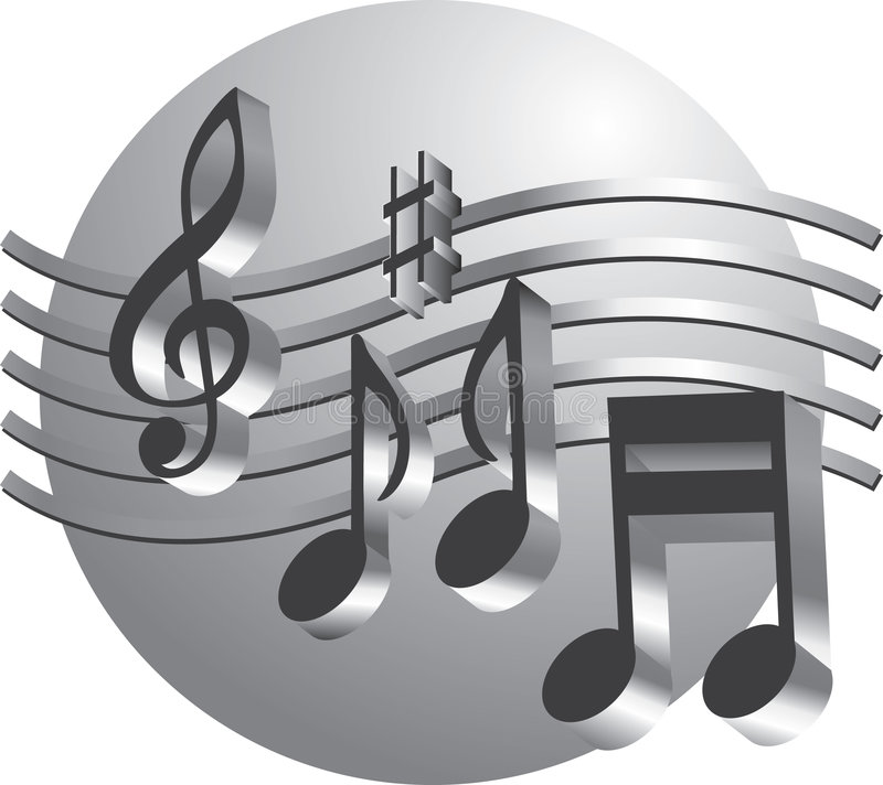 Silver Music Notes Royalty Free Stock Photos