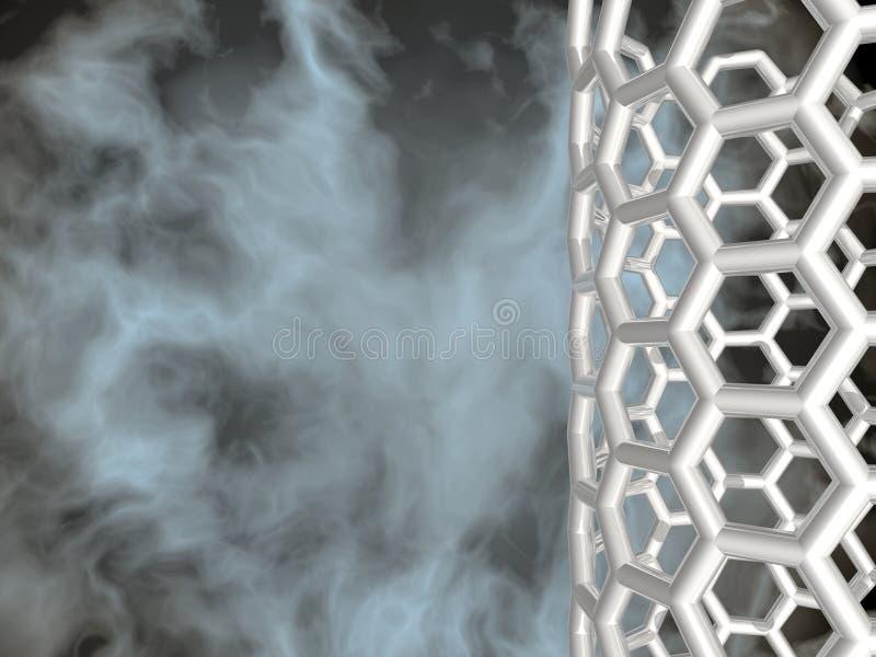 Silver nanotube on black cloudy background vector illustration