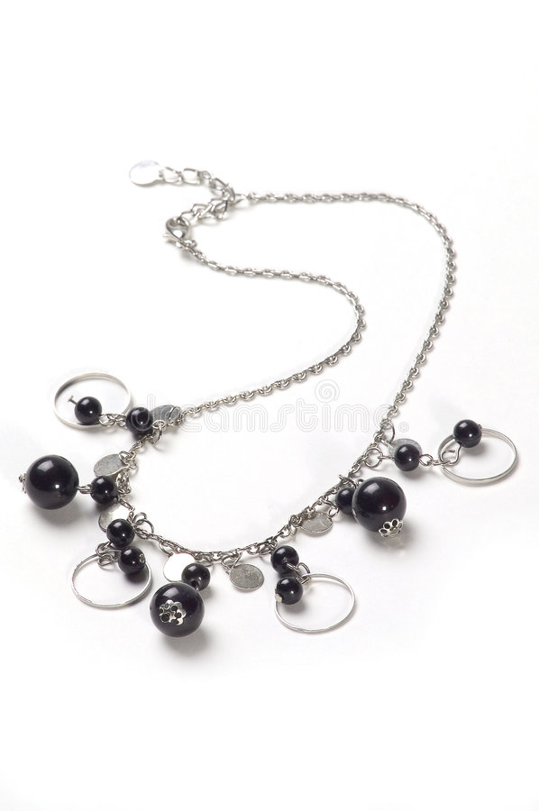 Silver Necklace with black balls royalty free stock image