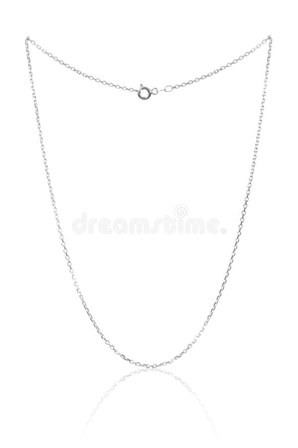 Silver necklace chain, luxury jewelry on white background stock photo