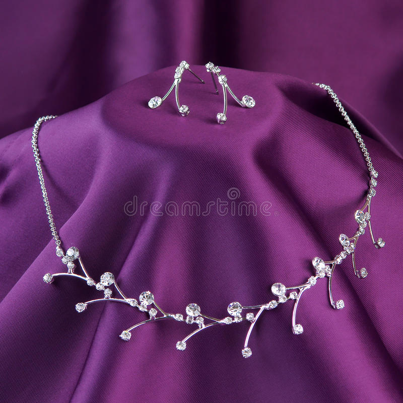 Download Silver Necklace With Gemstones Stock Photo - Image: 27337028