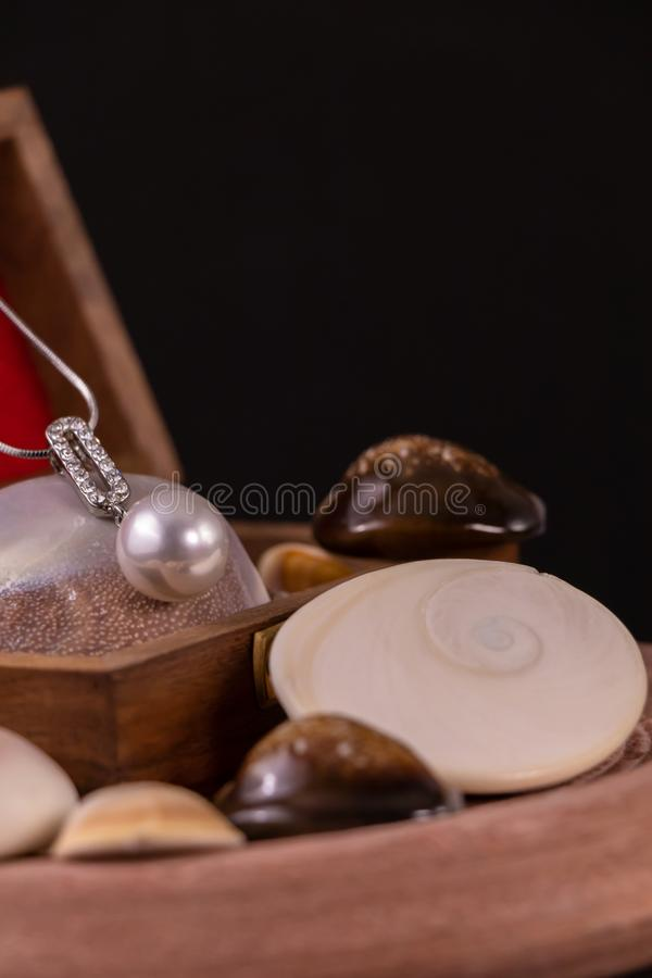 Silver Necklace with Pearl Pendant on wooden box and spreaded seashells on black background stock photography