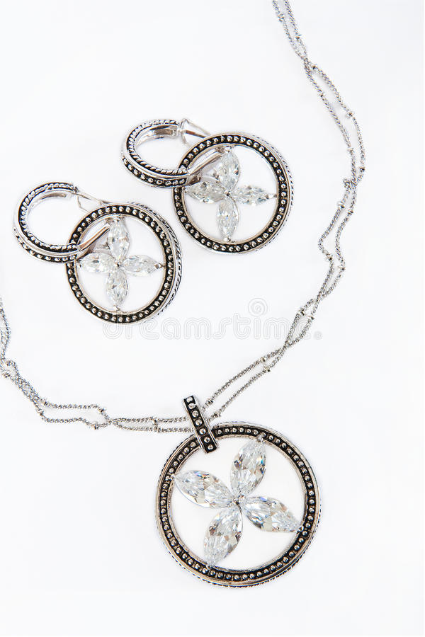 Silver Necklaces and earings royalty free stock photography
