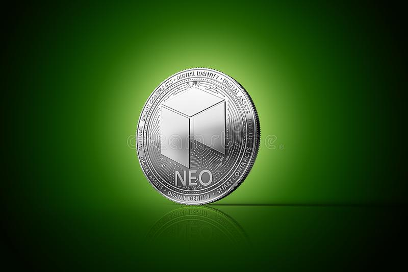 Silver NEO cryptocurrency physical concept coin on gently lit green background. 3D rendering royalty free illustration