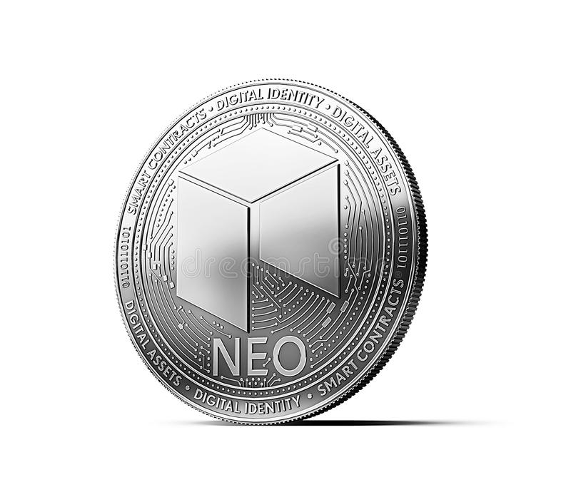 Silver NEO cryptocurrency physical concept coin isolated. On white background. 3D rendering vector illustration
