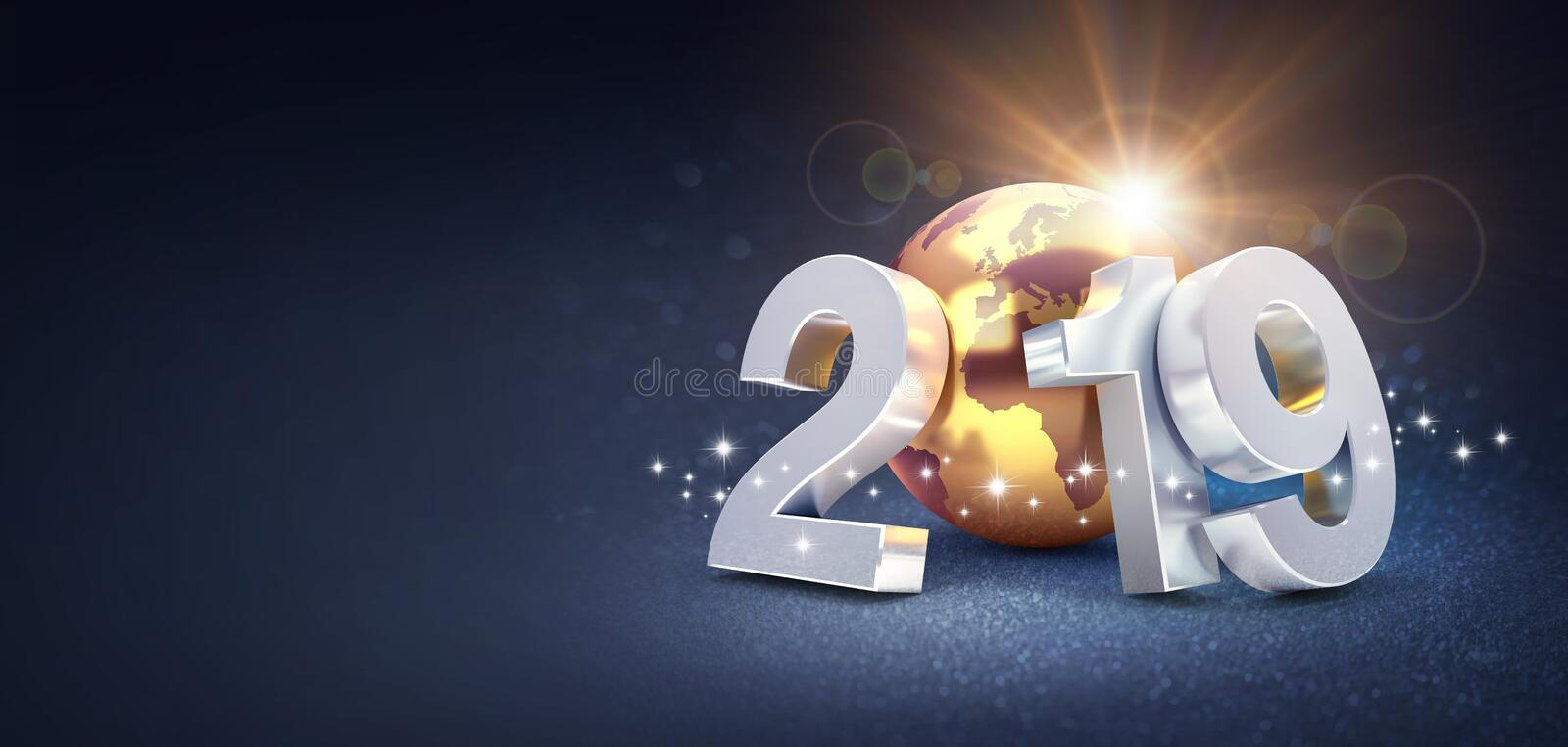 Silver New Year date 2019 composed with a gold planet earth, sun shining behind, on a glittering black background - 3D vector illustration