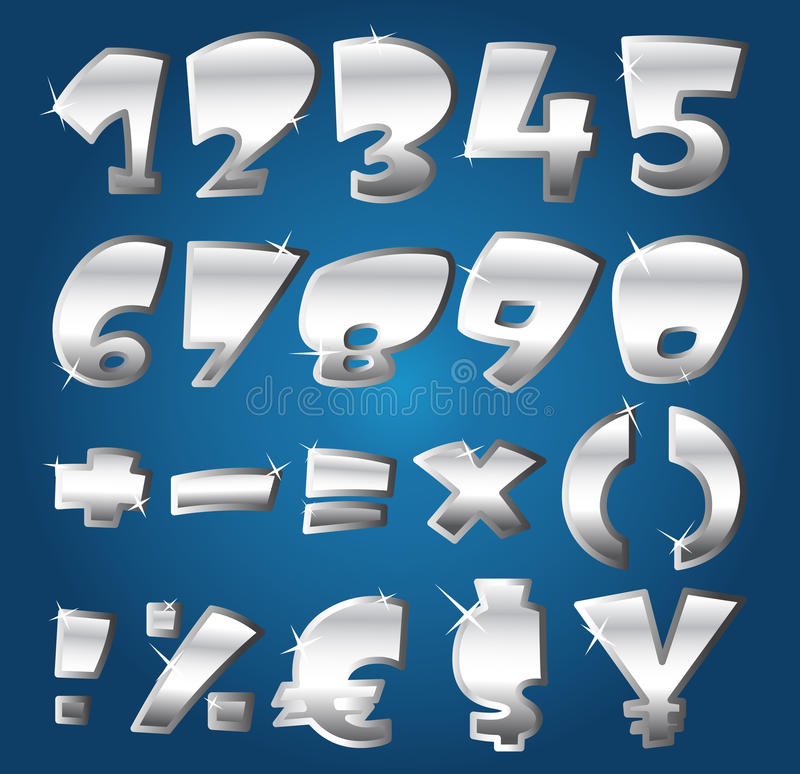 Download Silver numbers stock vector. Image of letter, children - 23163867