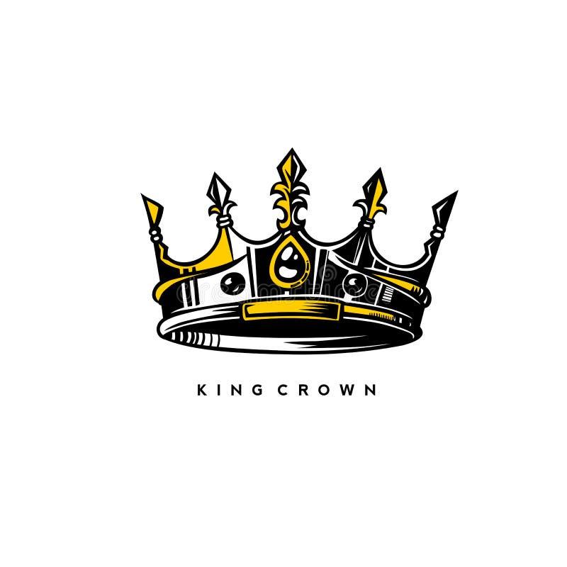 Silver och guld- illustration för konungkronavektor royaltyfri illustrationer