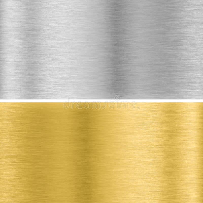 Silver och guld- metalltexturer royaltyfri illustrationer
