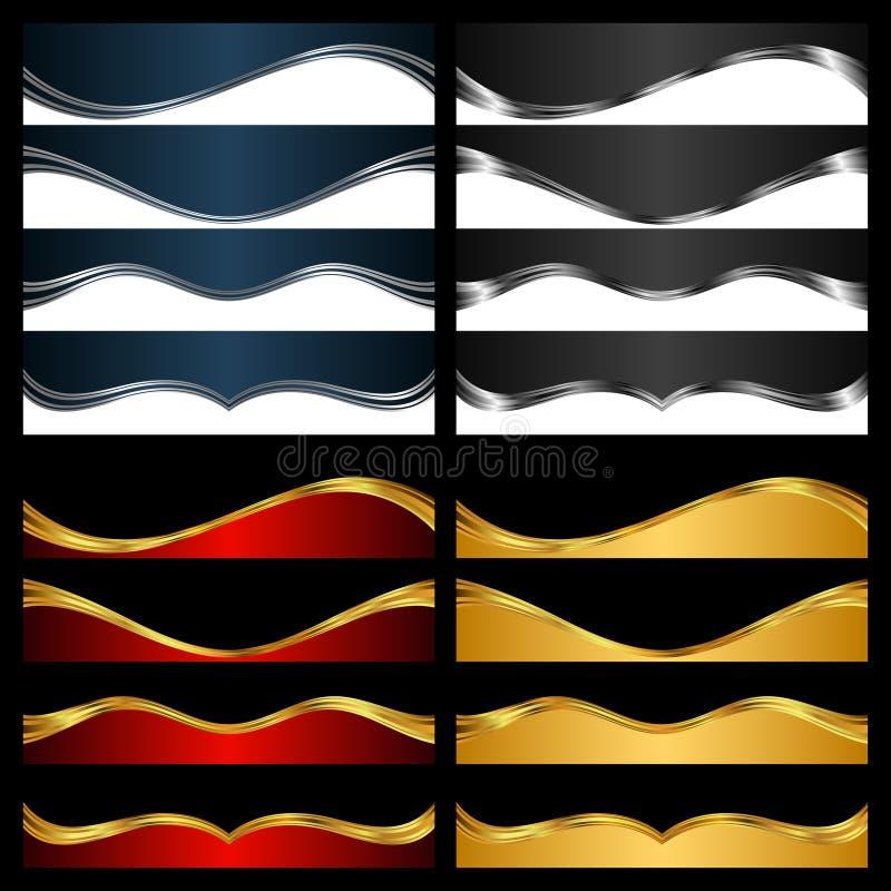 Silver- och guldbeståndsdelar för abstrakt bakgrund vektor illustrationer
