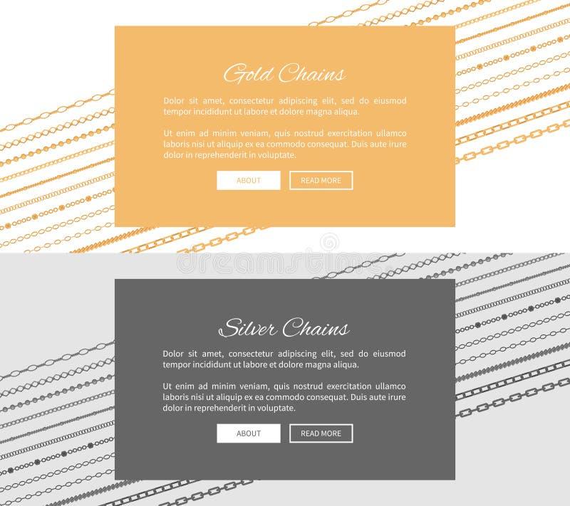 Silver- och guldkedjewebbsidor med tryckknappar stock illustrationer