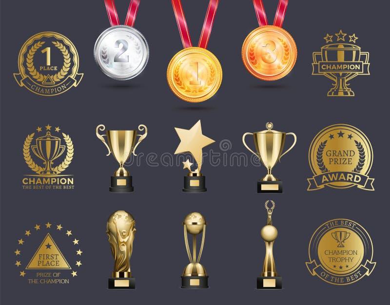 Silver och guldmedaljer ställde in vektorillustrationen royaltyfri illustrationer